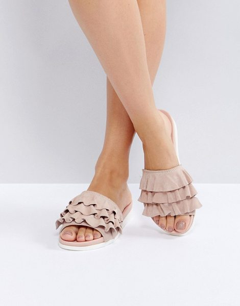 FAITH Blush Frill Flat Sandals - Sandals by Faith, Leather upper, Slip-on style, Open...
