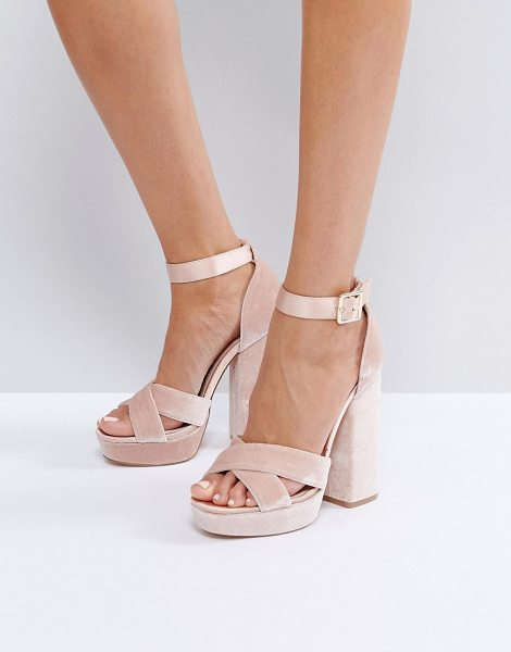 "Faith Blush Velvet And Satin Platform Sandals in pink - """"Heels by Faith, Velvet upper, Leather lining, Satin..."