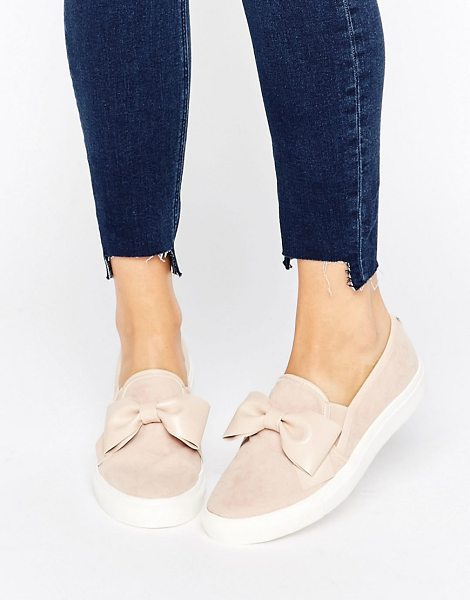 Faith Bow Slip On Sneakers in beige - Plimsolls by Faith, Suede style upper, Slip-on design,...