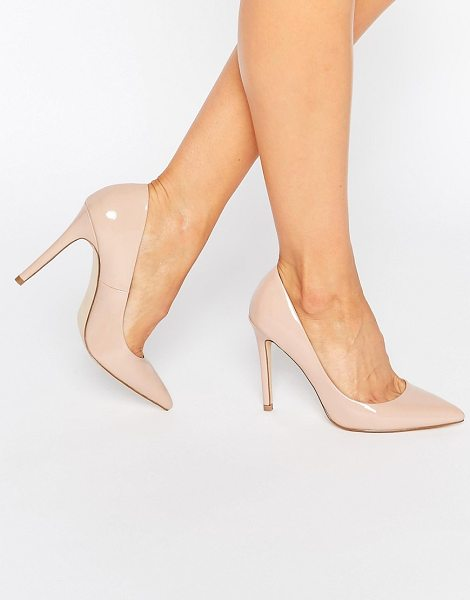 "Faith Chloe Patent Nude Pumps in nude - """"Heels by Faith, Faux-leather upper, Slip-on style,..."