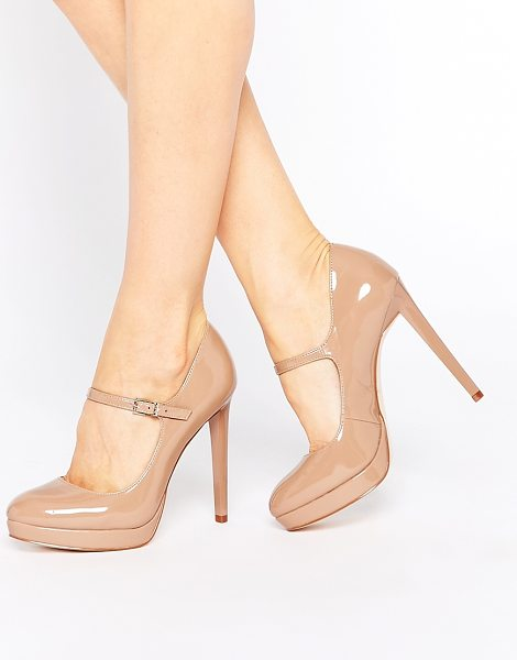 Faith Chrissie nude patent mary jane shoes in nude - Heels by Faith, Leather-look upper, Patent finish, Pin...