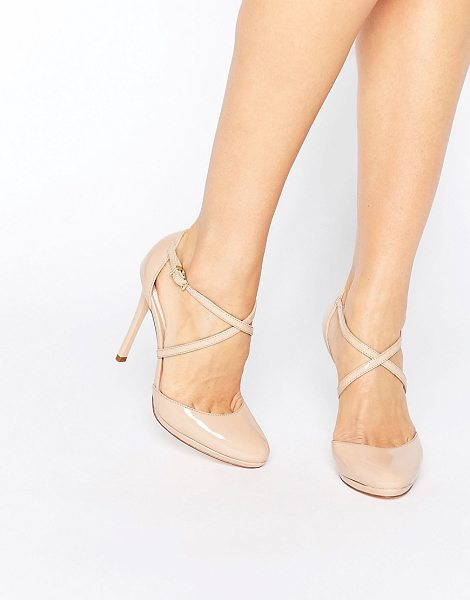 "Faith Clara Strappy Heeled Shoes in beige - """"Heels by Faith, Patent upper, Pin-buckle fastening,..."