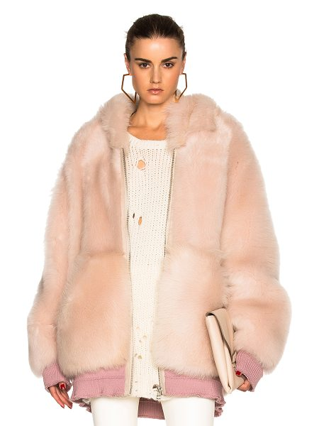 Faith Connexion Reversible lamb fur oversized jacket in pink - Self: 100% real dyed lamb fur - Rib: 88% cotton 10%...