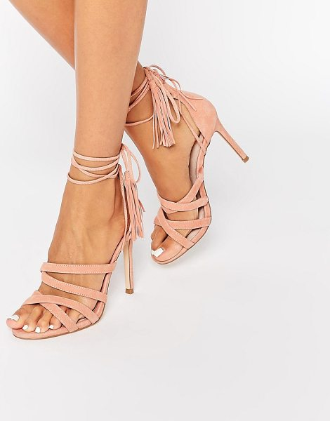 Faith Daft Pink Suede Ghillie Tie Up Heeled Sandals in pink - Heels by Faith, Suede upper, Lace-up closure, High heel,...