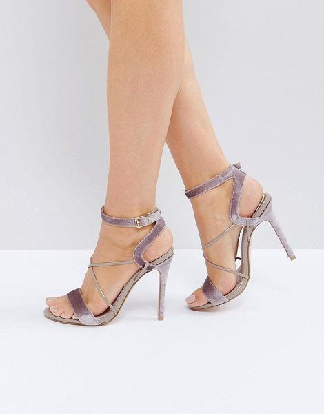 "Faith Dana Strap Heeled Sandals in beige - """"Heels by Faith, Soft-touch textile upper, Ankle-strap..."