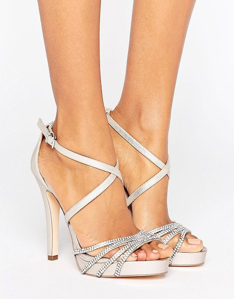 "Faith leslie embellished strap heeled sandals in nude - """"Heels by Faith, Textured faux-leather upper,..."