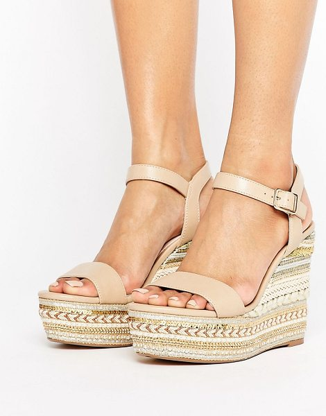 Faith Lily Espadrilled Nude Wedge Heeled Sandals in beige - Wedges by Faith, Faux-leather upper, Pin-buckle...