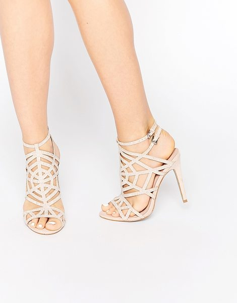 Faith Little Nude Embellished Caged Heeled Sandals in beige - Heeled sandals by Faith, Leather-look upper, Stud...
