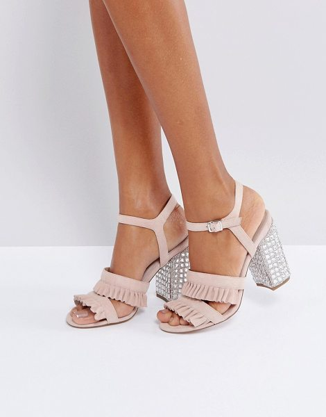 """FAITH Florence Suede Frill Heeled Sandals - """"""""Sandals by Faith, Suede upper, Ankle-strap fastening,..."""