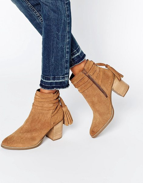 Faith Tassle Suede Heeled Ankle Boots in beige