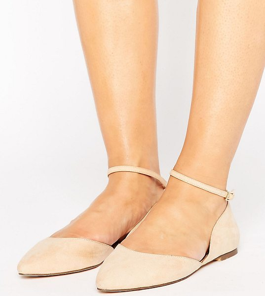 Faith Wide Fit Al Ankle Strap Flat Shoes in pink - Flat shoes by Faith, Faux-suede upper, Real leather...