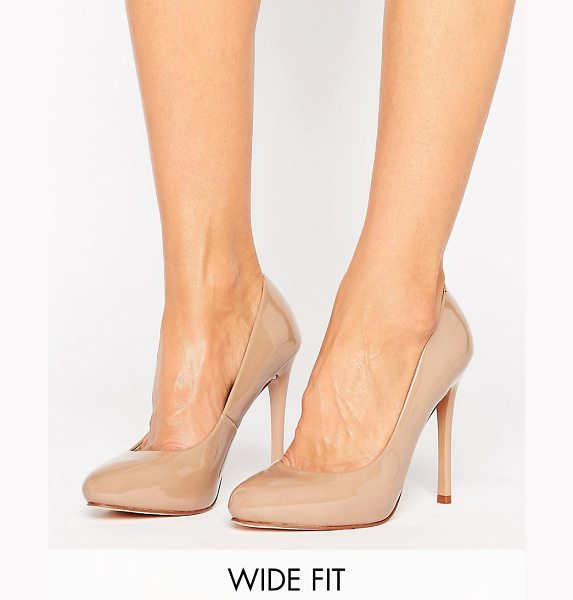 Faith Wide Fit Candy Heeled Shoes in beige - Heels by Faith, Faux-leather upper, Patent finish,...