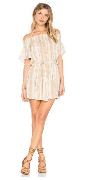"Faithfull The Brand Deia Dress in beige - ""100% rayon. Hand wash cold. Unlined. Elastic neckline...."
