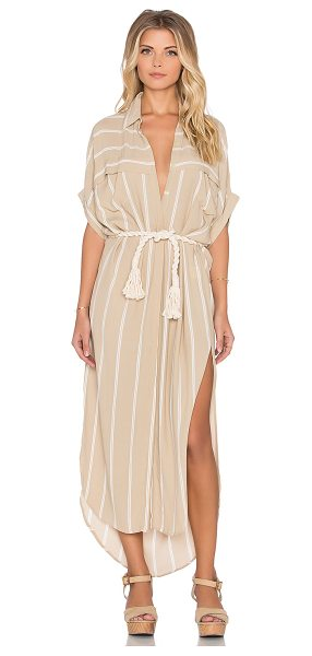 Faithfull The Brand Gigi americana stripe shirt dress in taupe - 100% rayon. Hand wash cold. Unlined. Button front...