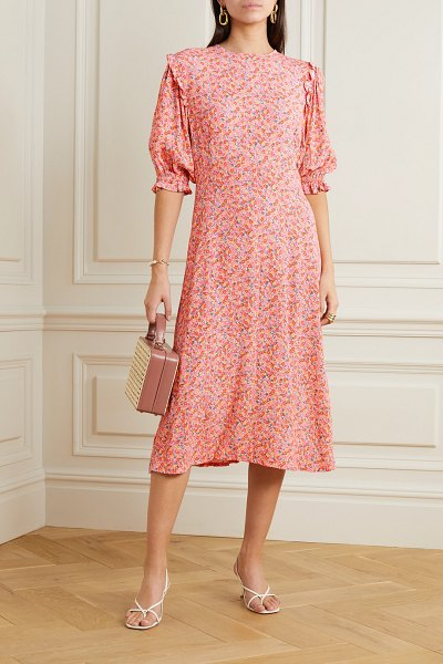 Faithfull The Brand jean-marie floral-print crepe midi dress in pink