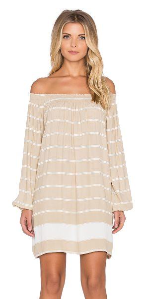 FAITHFULL THE BRAND Rambler americana stripe dress in taupe - 100% rayon. Hand wash cold. Unlined. Elastic neckline....