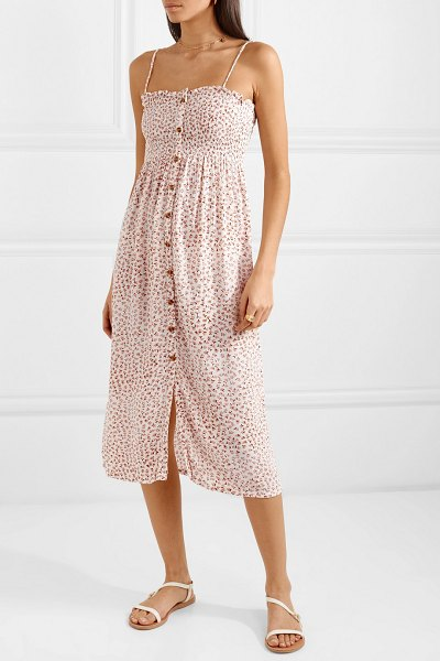Faithfull The Brand suki smocked floral-print crinkled-crepe midi dress in antique rose - Faithfull The Brand takes it name and inspiration from...