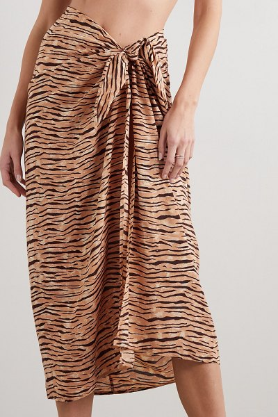 Faithfull The Brand tiger-print voile pareo in taupe