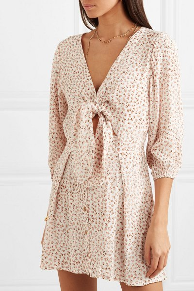 Faithfull The Brand trinidad tie-front floral-print crinkled-crepe mini dress in pink