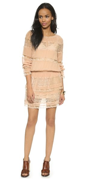 Falcon & Bloom French boho dress in nude - Mixed lace trim gives this airy Falcon & Bloom dress a...