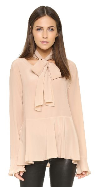 Falcon & Bloom Tulip tie neck blouse in nude - An optional neck tie accentuates the ladylike feel of...