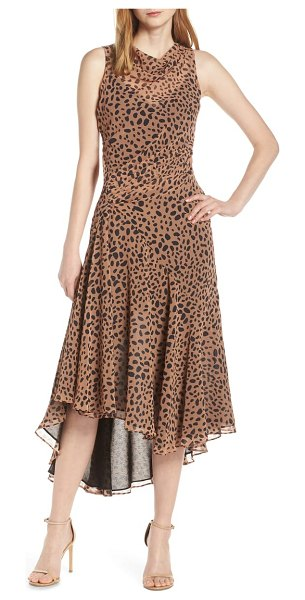 Fame and Partners animal print asymmetrical cocktail dress in brown - This georgette dress gets the elegant and exotic mix...