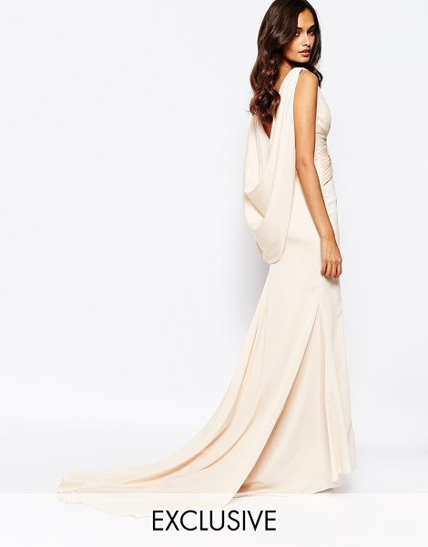 Fame and Partners Eternity maxi dress with low cowl back in nude - Maxi dress by Fame and Partners Woven fabric V-plunge...