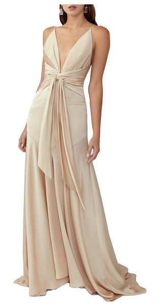 Fame and Partners lake draped satin gown in light nude