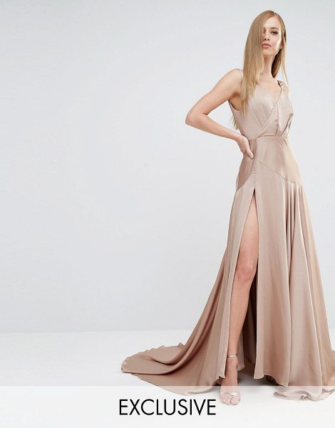 Fame and Partners Royal Satin Maxi Dress with Thigh Split in beige - Maxi dress by Fame and Partners, Smooth satin, Plunge...