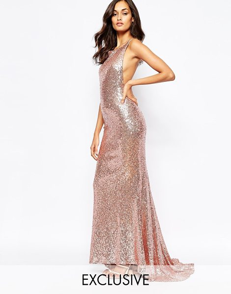 Fame and Partners Sequin paradise embellished maxi dress with open back in rose gold - Maxi dress by Fame and Partners Sequin embellished...