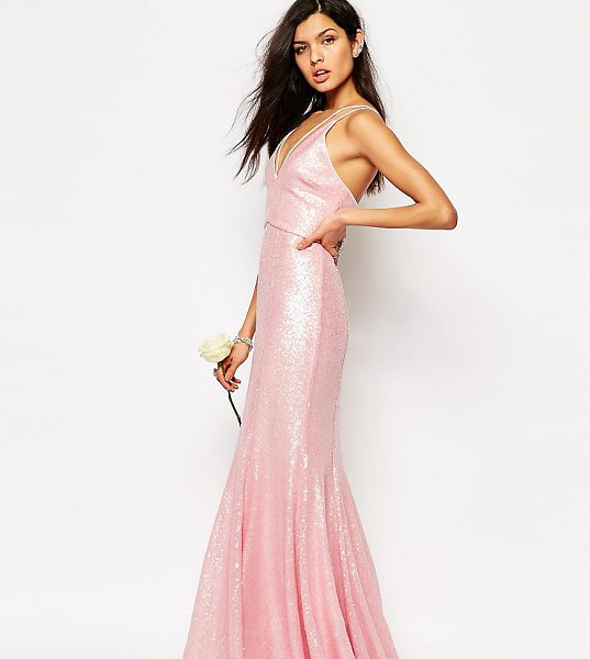 "Fame and Partners Shimmer Soul All Over Sequin Maxi Dress in pink - """"Maxi dress by Fame and Partners, Heavily sequined..."