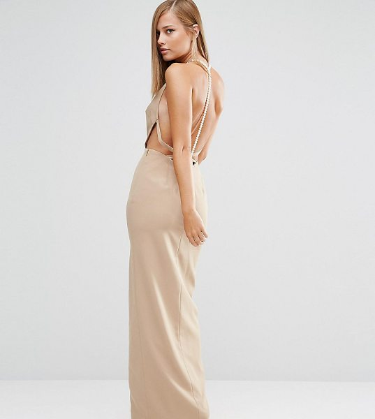 "FAME AND PARTNERS Sleek Maxi Dress with Faux Pearl Back - """"Maxi dress by Fame and Partners, Smooth woven fabric,..."