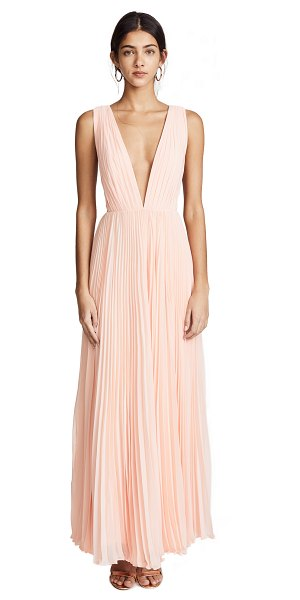 Fame and Partners the allegra dress in pale pink - Fabric: Chiffon Allover pleats Thigh-high slit Maxi...