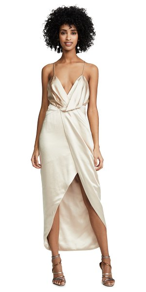 Fame and Partners the jami dress in champagne - Fabric: Charmeuse Front slit Halter neck High-low hem...