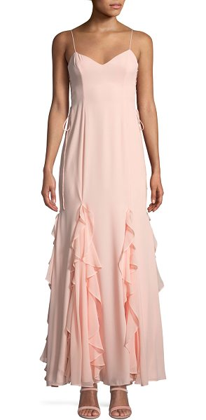 "Fame and Partners The Lara Ruffle Spaghetti-Strap Gown in light pink - Fame and Partners ""The Lara"" dress in heavyweight..."