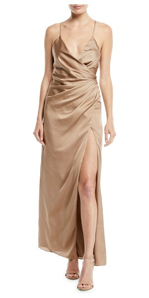 "Fame and Partners The Zarita Sleeveless V-Neck Draped Matte Stretch Satin Gown Dress in tan - Fame and Partners ""The Zarita"" gown in matte stretch..."