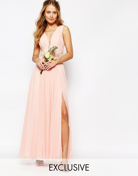 Fame and Partners Valencia Maxi Dress in pink - Maxi dress by Fame and Partners, Layered chiffon, Plunge...