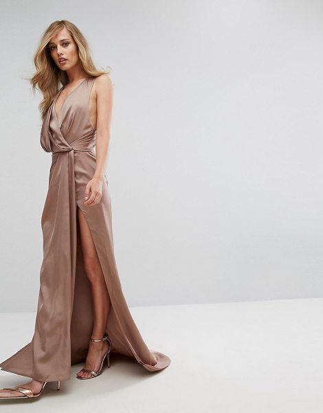 "Fame and Partners Wrap Maxi Gown with Fishtail in brown - """"Maxi dress by Fame and Partners, Smooth satin-style..."