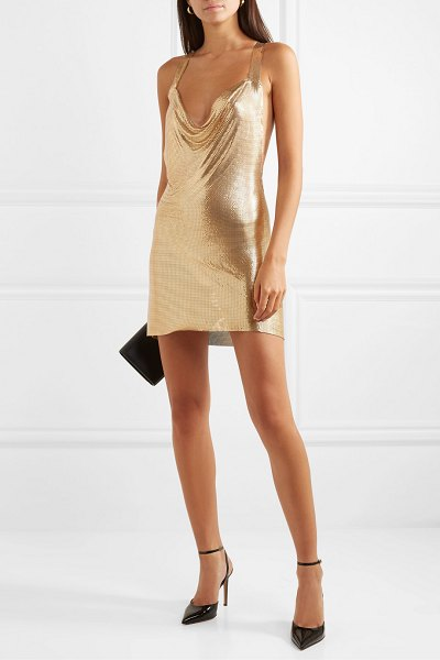 Fannie Schiavoni hailey open-back draped chainmail mini dress in gold