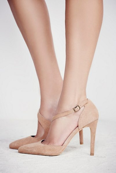 Faryl Robin + Free People East village heel in natural - In a textured suede these pointed toe heels feature an...