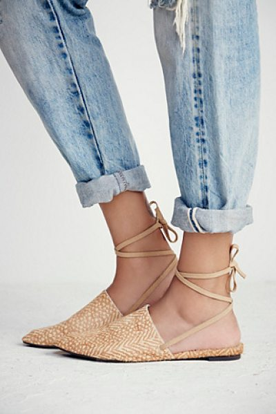 Faryl Robin + Free People Freefall flat in natural - Slip on pointy toe flats with a long ankle strap....