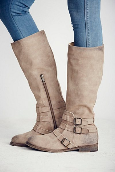 Faryl Robin + Free People River bend tall boot in tan - Distressed leather riding boots with a stone-wash finish...