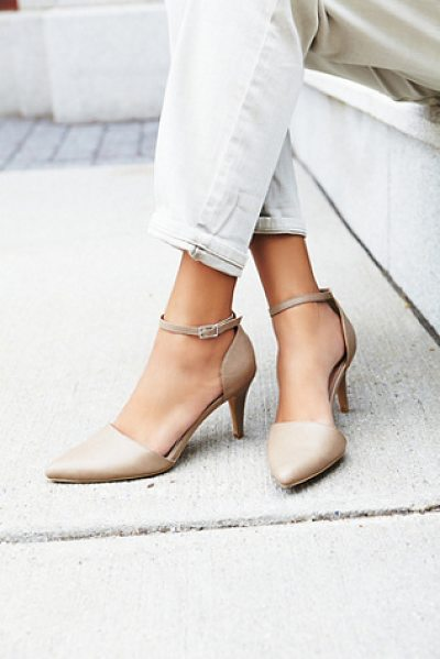 FARYL ROBIN + FREE PEOPLE Vegan slope heel - Vegan leather stilettos with and adjustable ankle strap....