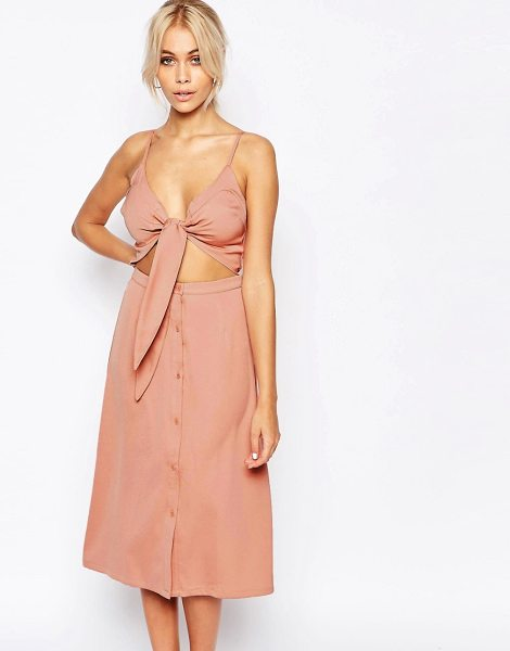 Fashion Union 2 in 1 bow front midi dress in pink - Dress by Fashion Union, Woven fabric, Plunge neckline,...