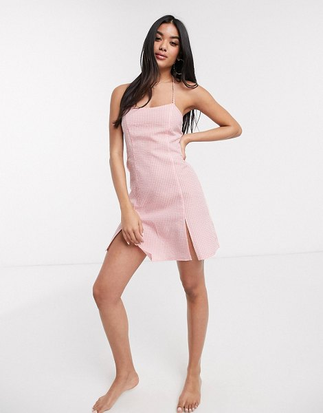 Fashion Union beach mini cami dress in pink gingham in pink