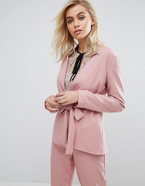 """Fashion Union Blazer With Tie Front Co-Ord in pink - """"""""Blazer by Fashion Union, Lightly-textured woven..."""