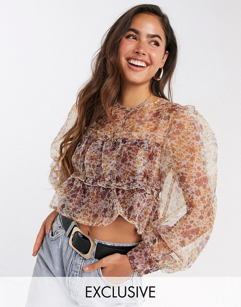 Fashion Union blouse with smocking and puff sleeves in floral organza-beige in beige