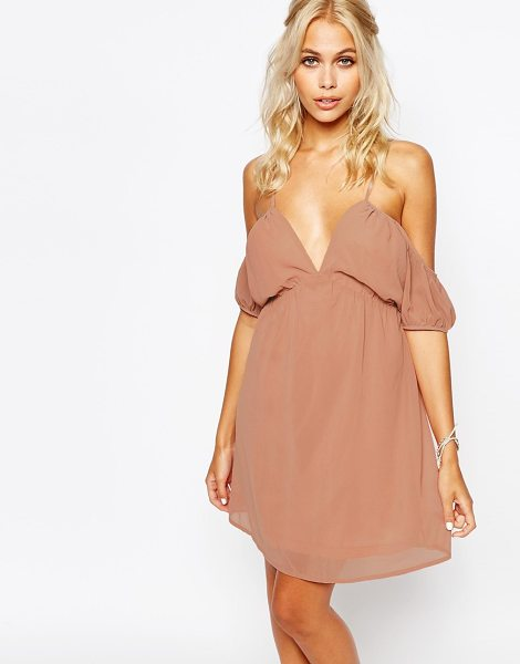 Fashion Union Cami Dress with Cold Shoulder in pink - Dress by Fashion Union, Lightweight chiffon, Fully...