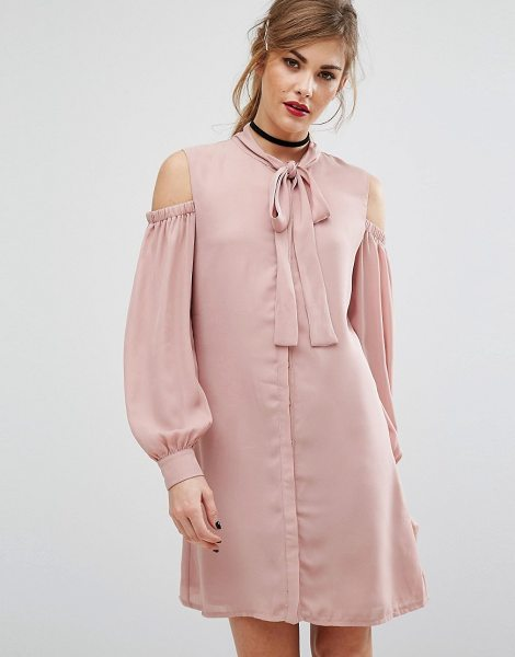"Fashion Union Cold Shoulder Dress With Tie Up Bow Neck in pink - """"Dress by Fashion Union, Woven fabric, Pussy-bow neck,..."
