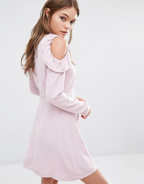 Fashion Union Cold Shoulder Smock Dress With Frills On Shoulder in pink - Dress by Fashion Union, Lightweight fabric, High...